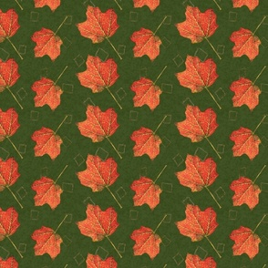 Fall Leaves-olive and emerald (large)