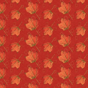 Fall Leaves-poppy and mustard (large)