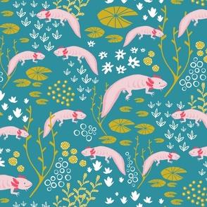 Happy Axolotl Water Dance