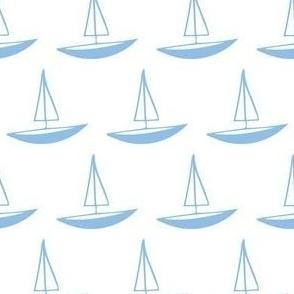 Blue Yacht on White
