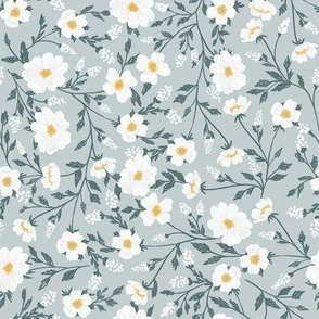 Wild white flowers on blue background MEDIUM