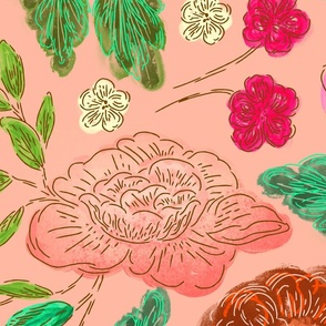 Large Floral Dance in pink blush