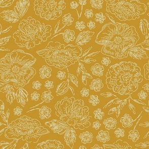 modern floral toile in mustard