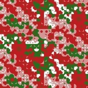 Funky Geometric Bohemian Bold Red and Green Christmas Pattern