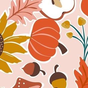 Autumnal Bounty - Fall Botanical - Light Pink Large Scale