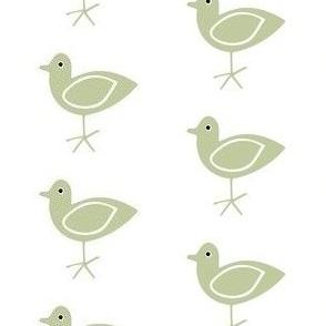 Green Bird on White
