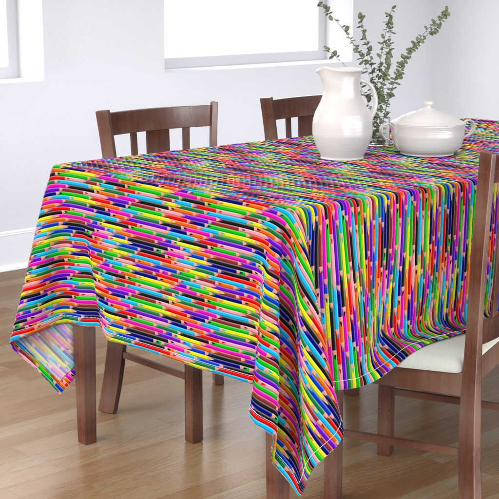 Bantam Rectangular Tablecloth featuring Colored Pencils Bright by spacefem