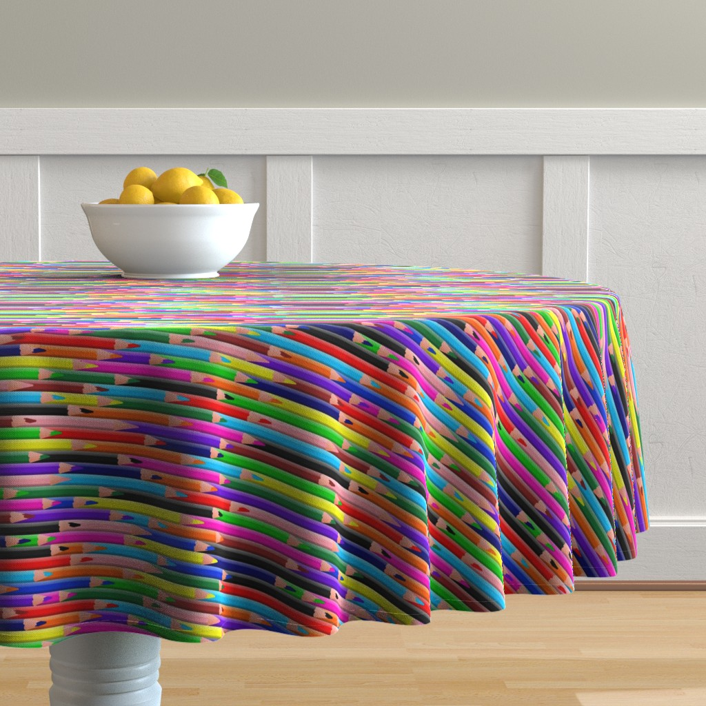 Malay Round Tablecloth featuring Colored Pencils Bright by spacefem