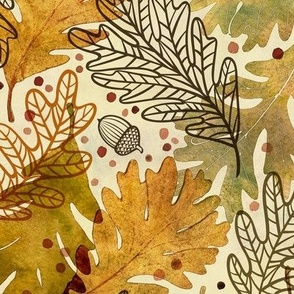 Autumn Confetti Large- Fall Leaves- Thanksgiving Home Decor- Earthy Tones Oak Leaves and Acorns