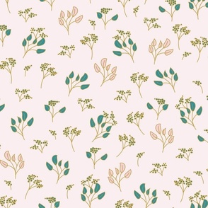 Teal Cream and Pink Tossed Botanical Small Scale for Apparel and Home Decor-06