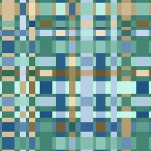 Crazy Checkerboard in Blues, Greens and Caramels: medium scale for wallpaper, home decor and accessories.