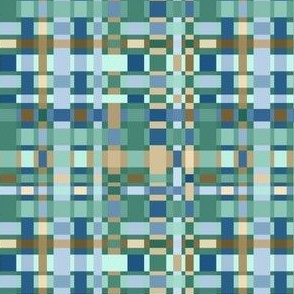 Crazy Checkerboard in Blues, Greens and Caramels: small scale for home decor and accessories.