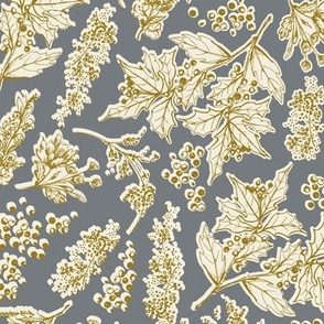 Holiday Toile in Gray and Cream and Mustard
