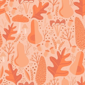 Fall Woodland Pinecones Leaves neutral beige orange brown