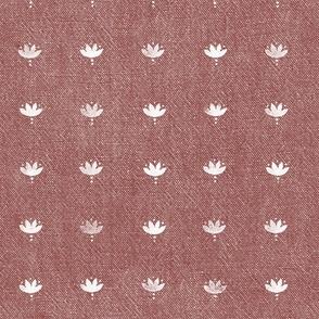 Block Print Lotuses - White on Cinnamon Red Chambray