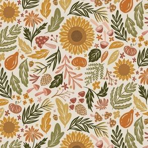 Autumn Botanicals - leaves, acorns, sunflowers, ferns, mums, pinecones, mushrooms - light - medium /large scale