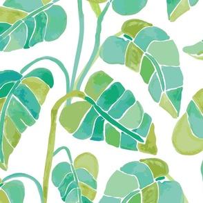 Jumbo // Multi Colored green Leaves on White
