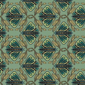 Vintage Butterflies - Large - Light Teal - ROTATED