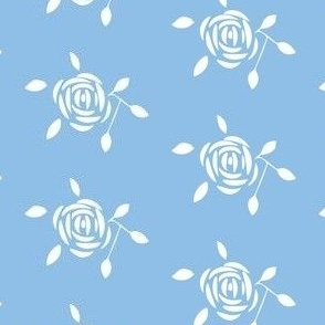 White Rose on Blue