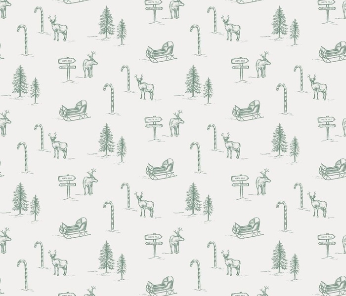 Christmas & Holiday Toile in Green