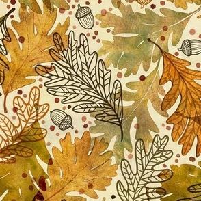 Autumn Confetti Medium- Fall Leaves- Thanksgiving Home Decor- Earthy Tones Oak Leaves and Acorns