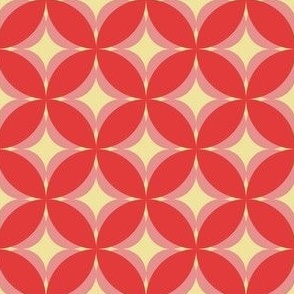 Modern Frangipani Stylized Geometric Floral in Pink_ Red and Cream-04