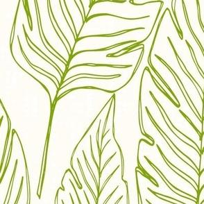 Jumbo // Banana Leaves Outline Lime Green