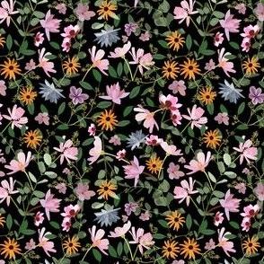 small Pretty Wildflowers on black