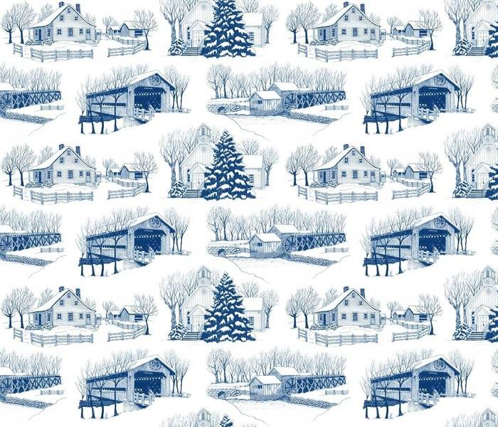 Country Christmas 12x6 Blue