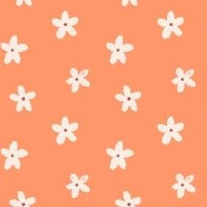 Small hand drawn flowers in Orange