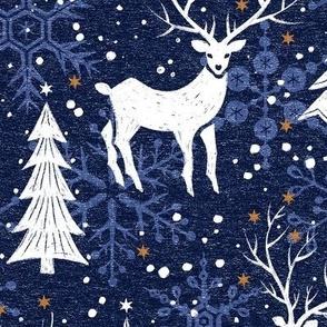 Blue Woodland Christmas Deer