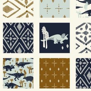 Dinosaur Cheater Quilt - Navy - Geometric, Light Blue, Cream Copper