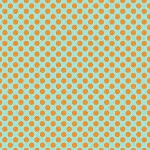 orange on turquoise polka dots