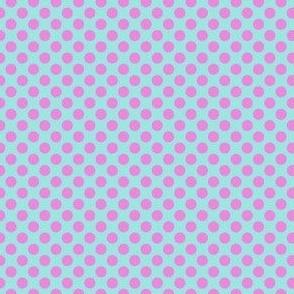 fuschia on turquoise dots