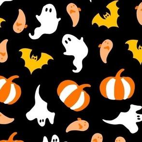 Friendly Spooky Halloween Ghost Pumpkins orange on black