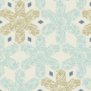 vintage ice crystals teal and gold