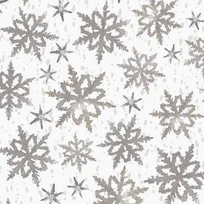 Large Blizzard Block Print in Grey