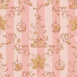Christmas toile Decorating tree Blush and cream with pale gold Medium scale