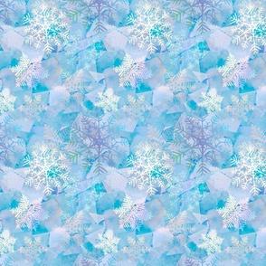 Snowflakes frozen on ice