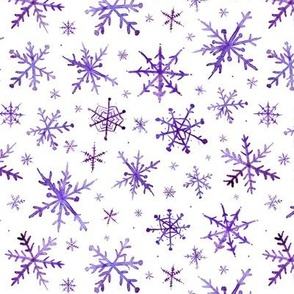 Amethyst snowflakes - purple magic winter watercolor vibes - christmas and new years cool snow a527-4