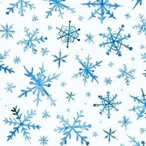 Sapphire snowflakes - magic winter watercolor vibes - christmas and new years cool snow a527-11