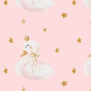 Princess swan with gold crown MEDIUM