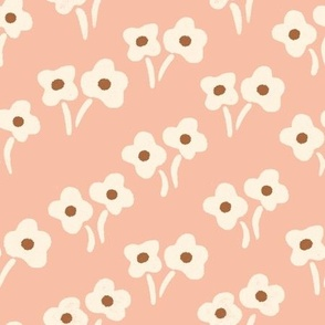 Small flowers in pairs - Peach, white and brown