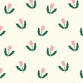 Small tulips - Cream white, green and pink