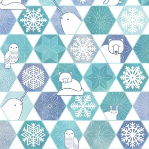 Snowflakes and Arctic Animals Patchwork
