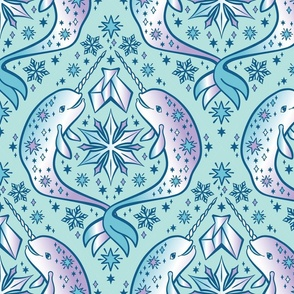 Crystal Narwhals in Winter Teal