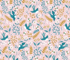Large Blue Birds and Bees Floral Joy