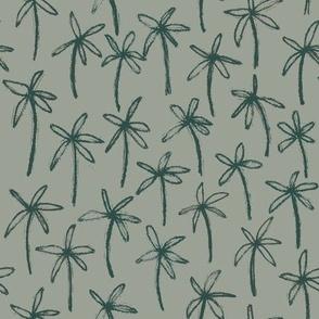 Hand drawn palm trees - Green hues
