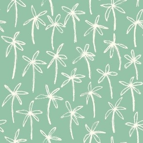 Hand drawn palm trees - Green and white