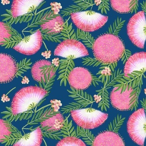 Pink Mimosa Scattered Floral on Navy Lg Scale